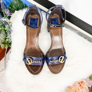 Tory Burch | blue block heel leather sandals